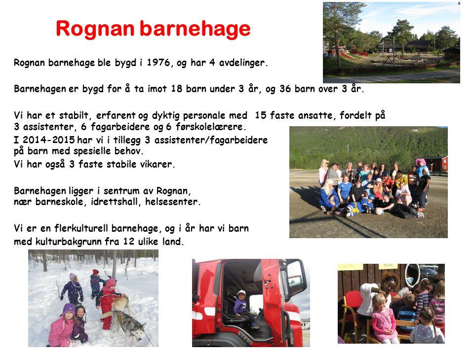 Rognan barnehage Rognan barnehage ble bygd i 1976, og har 4 avdelinger. Barnehagen er bygd for å ta imot 18 barn under 3 år, og 36 barn over 3 år.