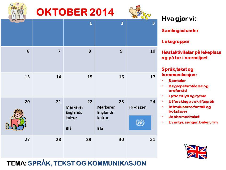 OKTOBER 2014 Hva gjør vi: TEMA: SPRÅK, TEKST OG KOMMUNIKASJON 1 2 3 6