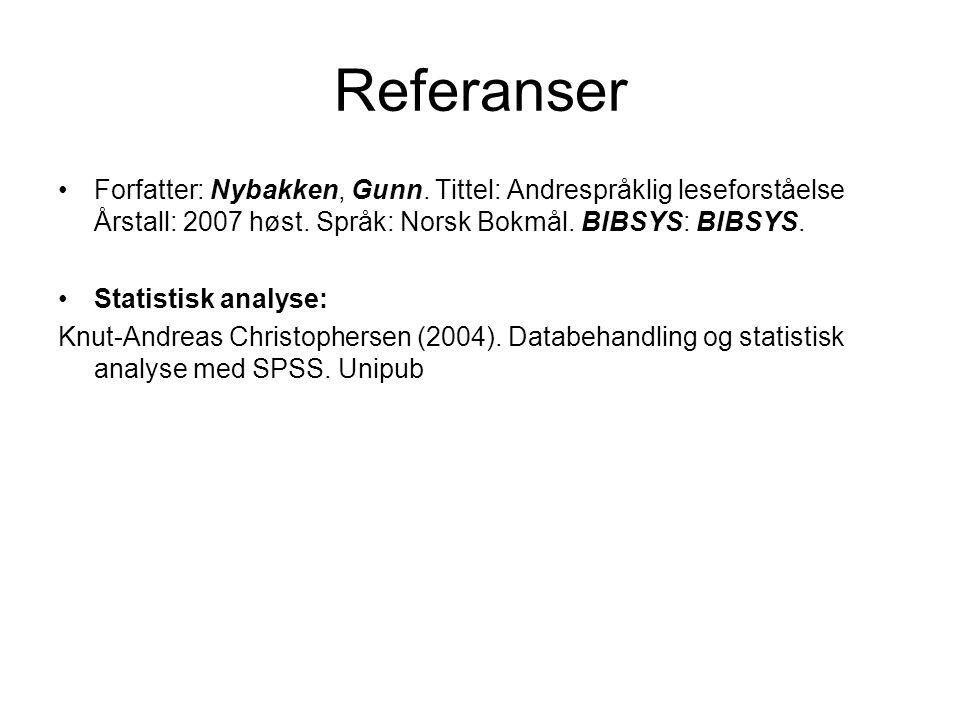 Referanser Forfatter: Nybakken, Gunn. Tittel: Andrespråklig leseforståelse Årstall: 2007 høst. Språk: Norsk Bokmål. BIBSYS: BIBSYS.