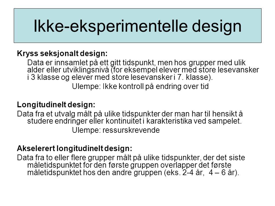 Ikke-eksperimentelle design