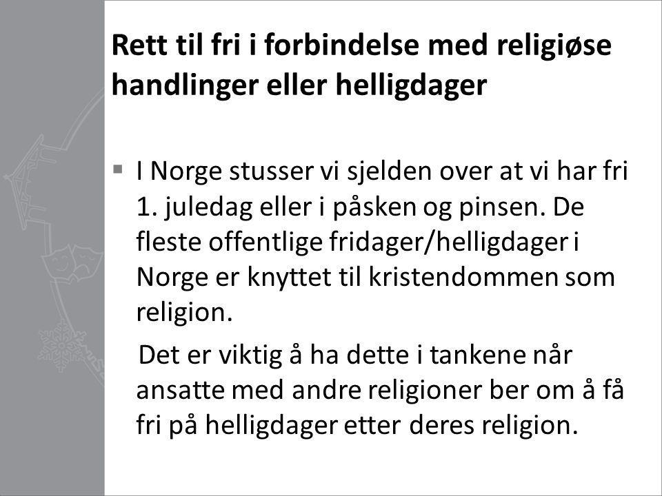 Rett til fri i forbindelse med religiøse handlinger eller helligdager