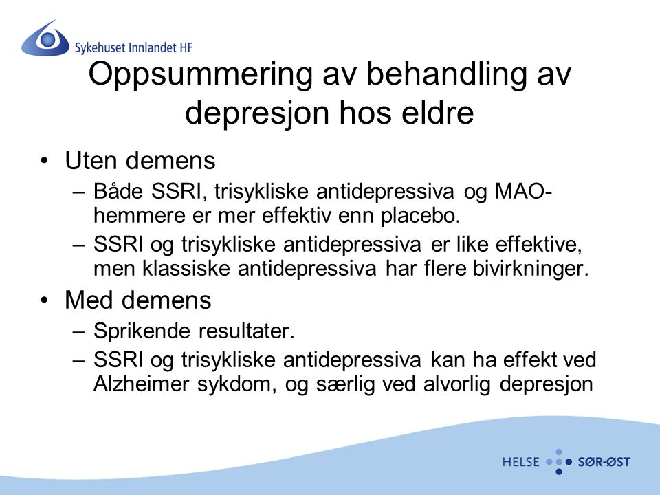 Oppsummering av behandling av depresjon hos eldre