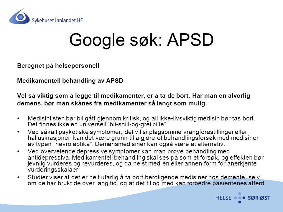 Google søk: APSD Beregnet på helsepersonell