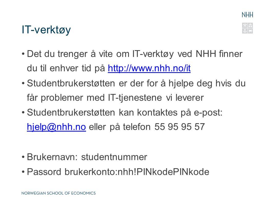 IT-verktøy Det du trenger å vite om IT-verktøy ved NHH finner du til enhver tid på http://www.nhh.no/it.