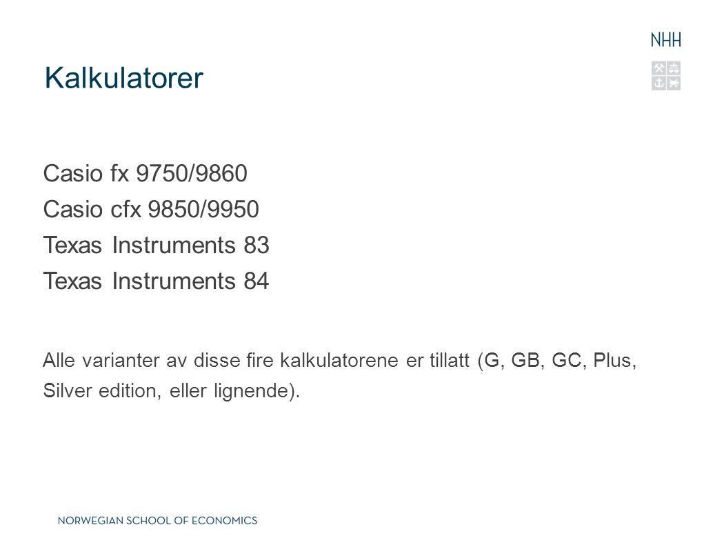 Kalkulatorer Casio fx 9750/9860 Casio cfx 9850/9950 Texas Instruments 83 Texas Instruments 84.