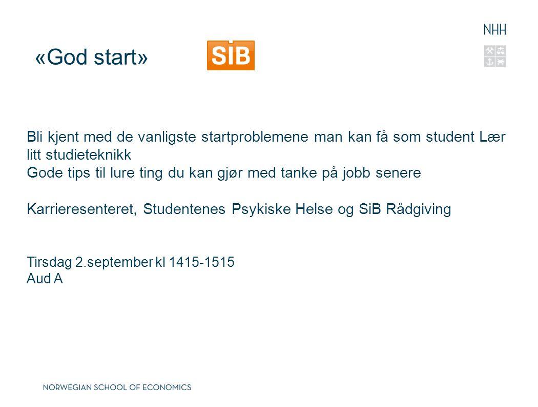 «God start» Bli kjent med de vanligste startproblemene man kan få som student Lær litt studieteknikk.