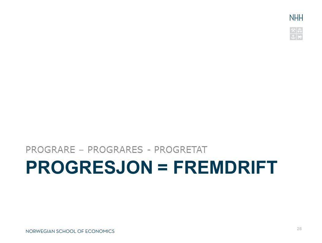 PROGRESJON = FREMDRIFT