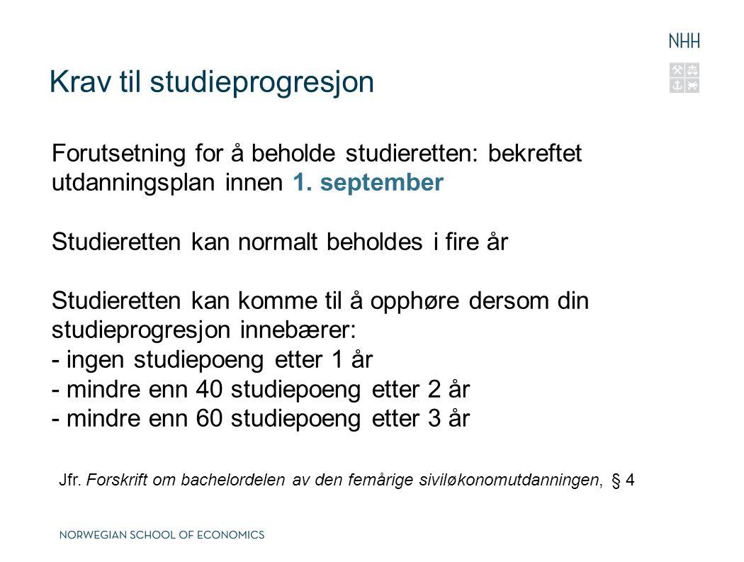 Krav til studieprogresjon
