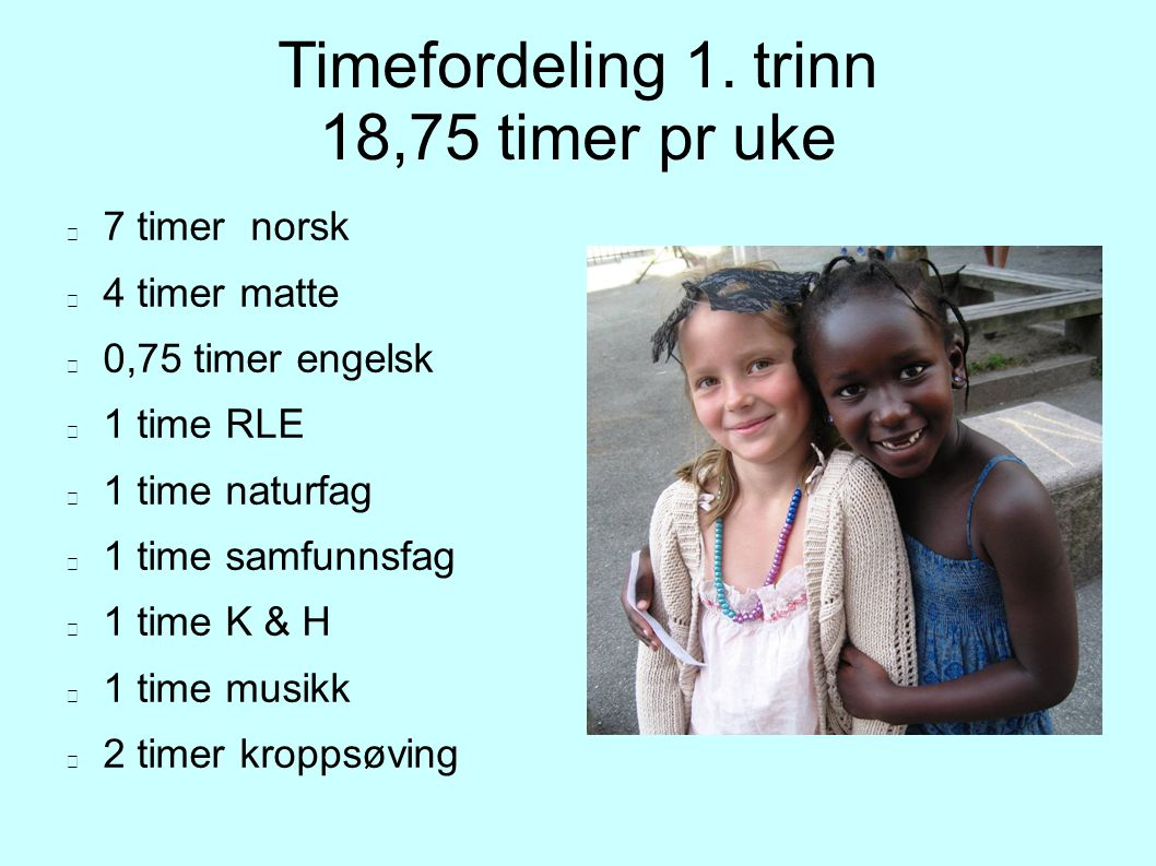 Timefordeling 1. trinn 18,75 timer pr uke 7 timer norsk 4 timer matte