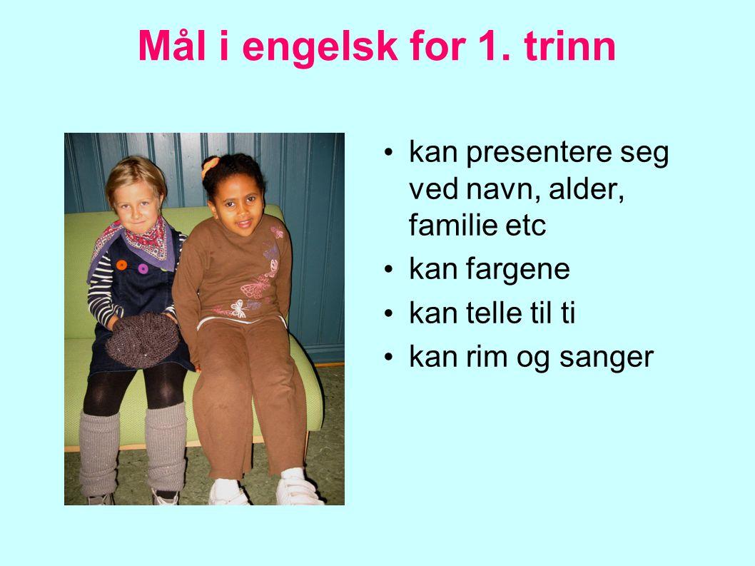 Mål i engelsk for 1. trinn kan presentere seg ved navn, alder, familie etc. kan fargene. kan telle til ti.