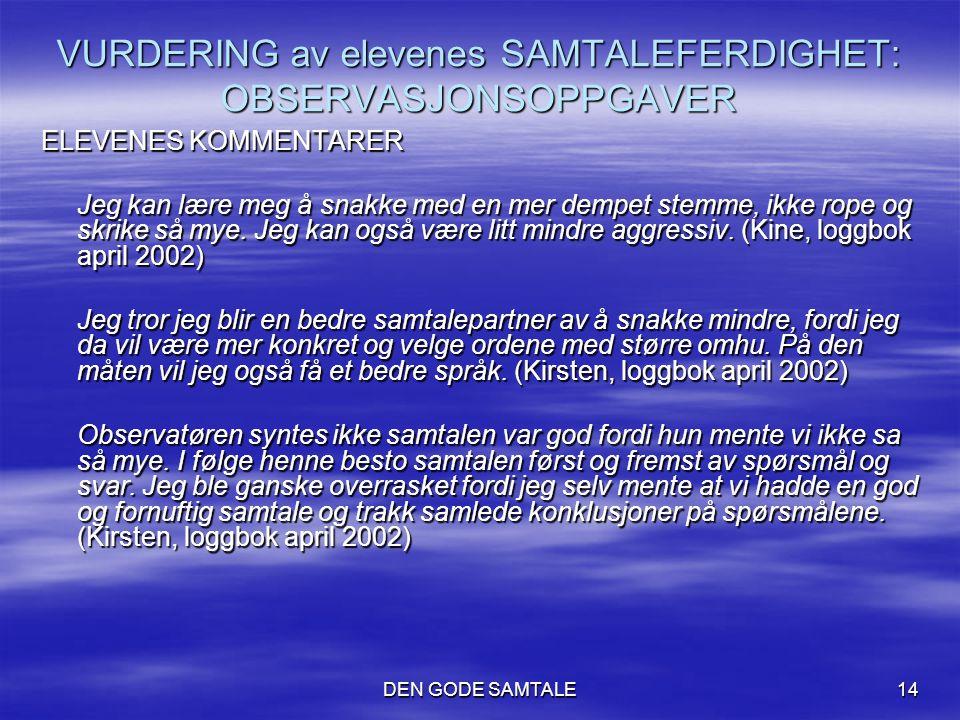 VURDERING av elevenes SAMTALEFERDIGHET: OBSERVASJONSOPPGAVER