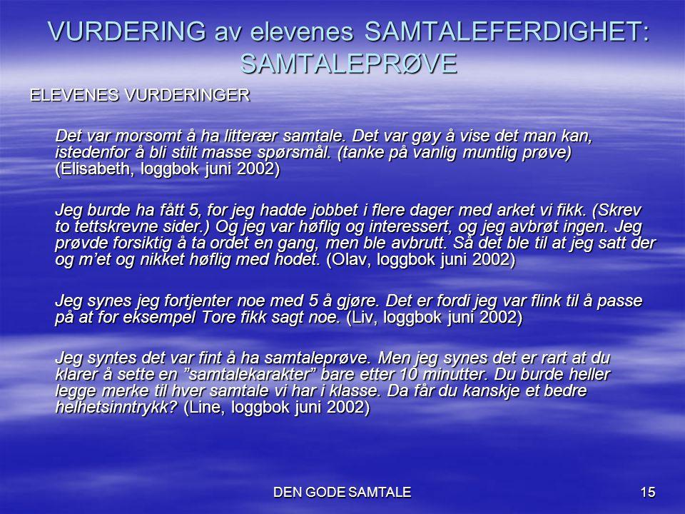 VURDERING av elevenes SAMTALEFERDIGHET: SAMTALEPRØVE
