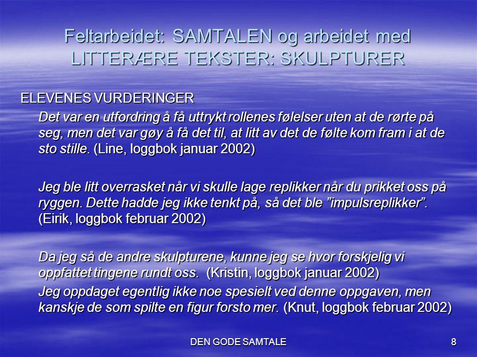 Feltarbeidet: SAMTALEN og arbeidet med LITTERÆRE TEKSTER: SKULPTURER