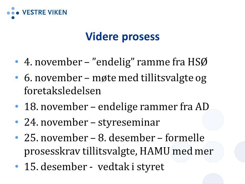 Videre prosess 4. november – endelig ramme fra HSØ