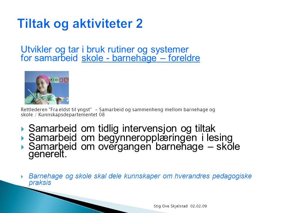 Tiltak og aktiviteter 2 Samarbeid om tidlig intervensjon og tiltak
