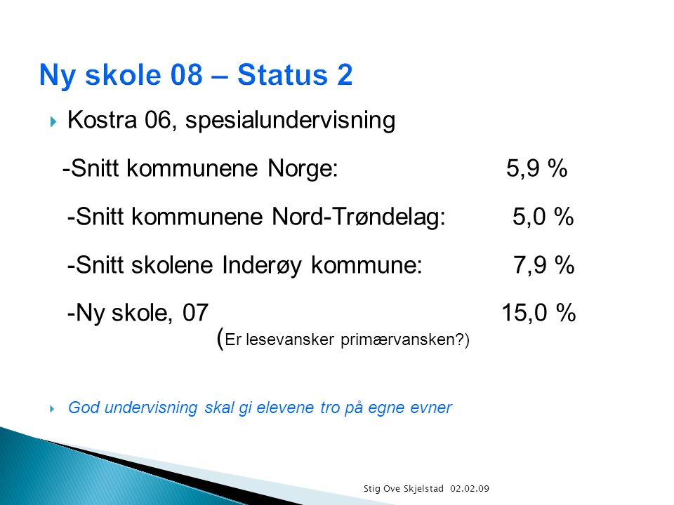 Ny skole 08 – Status 2 Kostra 06, spesialundervisning