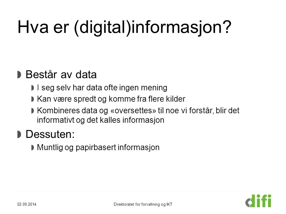 Hva er (digital)informasjon