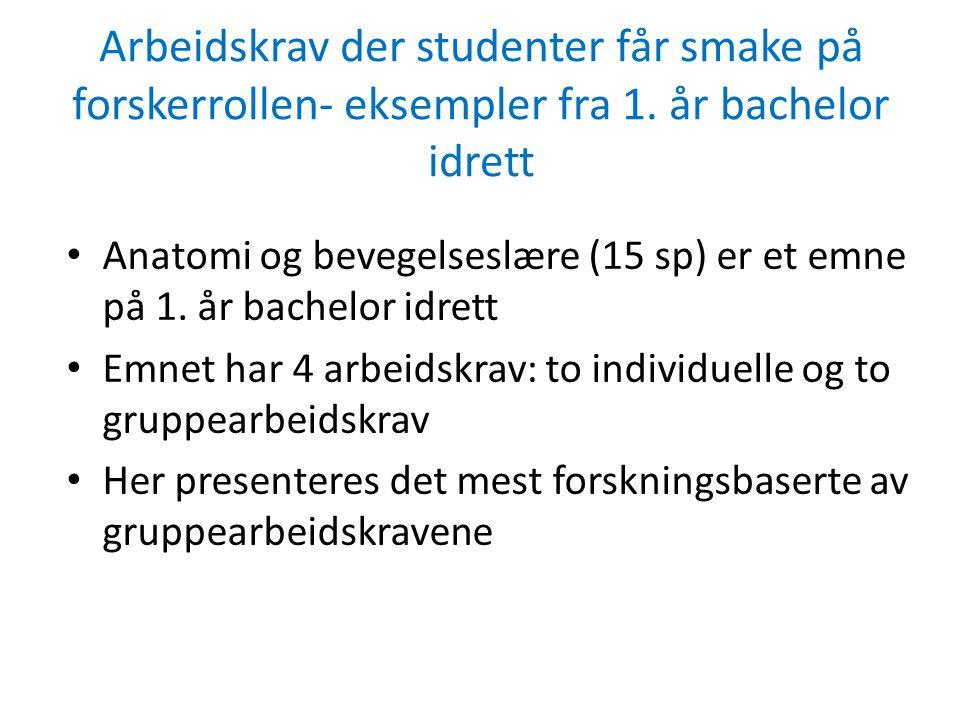 Arbeidskrav der studenter får smake på forskerrollen- eksempler fra 1