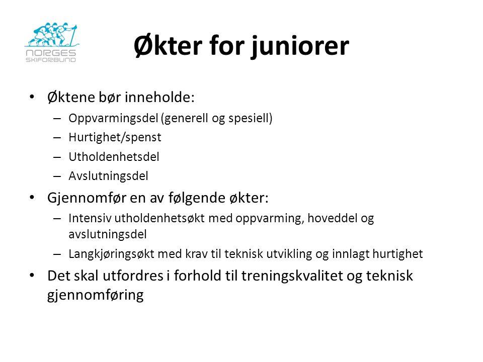 Økter for juniorer Øktene bør inneholde: