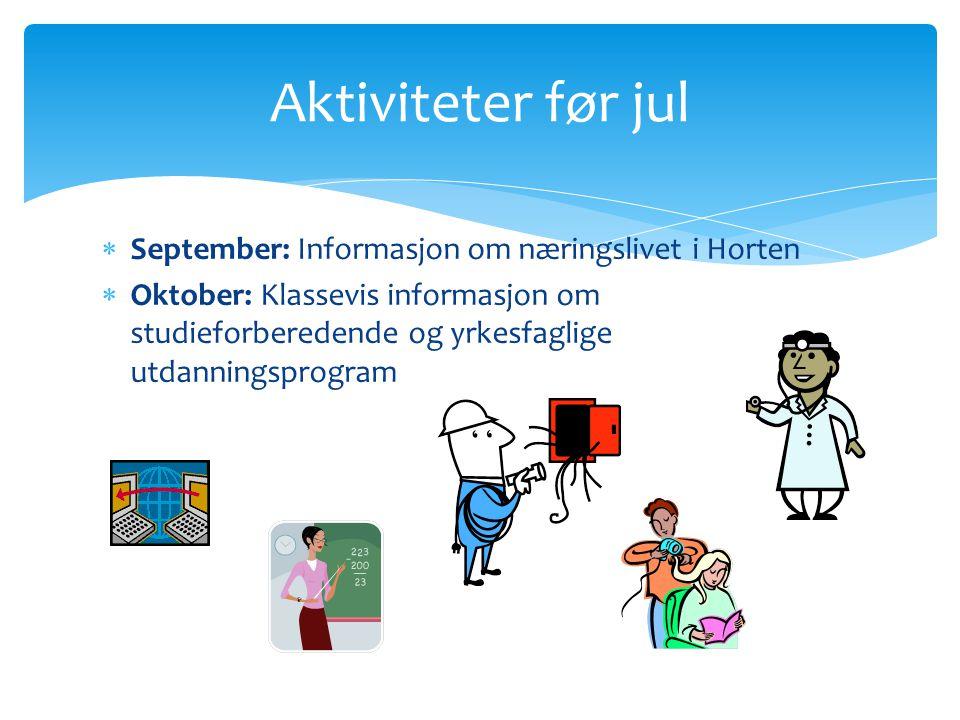Aktiviteter før jul September: Informasjon om næringslivet i Horten