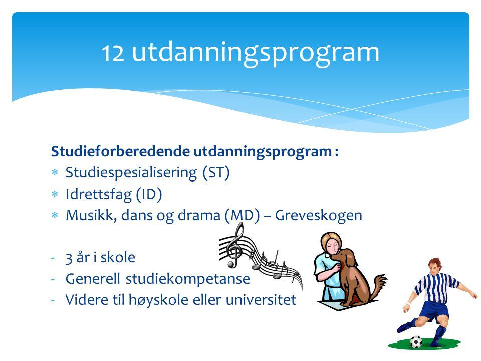 12 utdanningsprogram Studieforberedende utdanningsprogram :