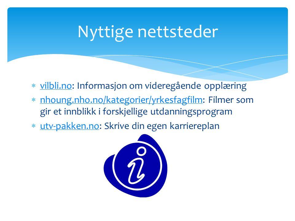 Nyttige nettsteder vilbli.no: Informasjon om videregående opplæring