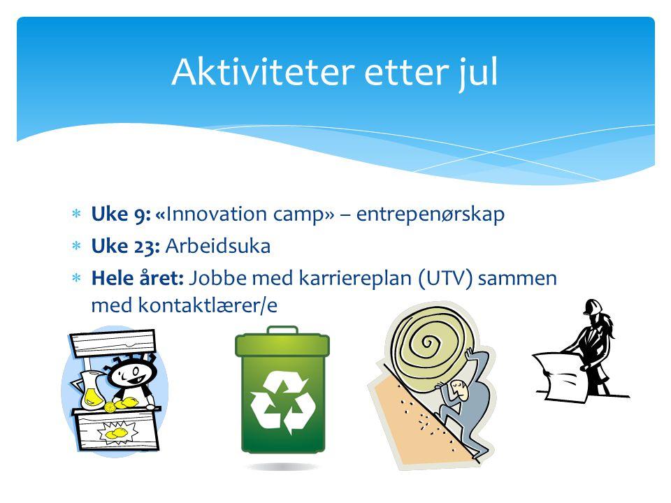 Aktiviteter etter jul Uke 9: «Innovation camp» – entrepenørskap