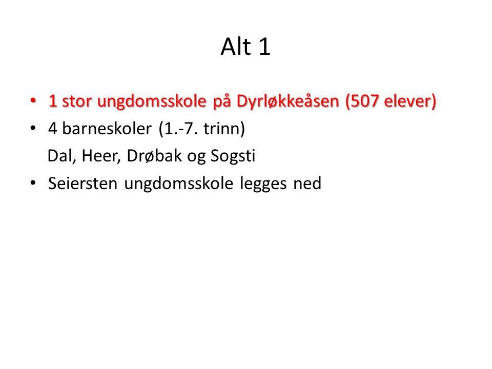 Alt 1 1 stor ungdomsskole på Dyrløkkeåsen (507 elever)