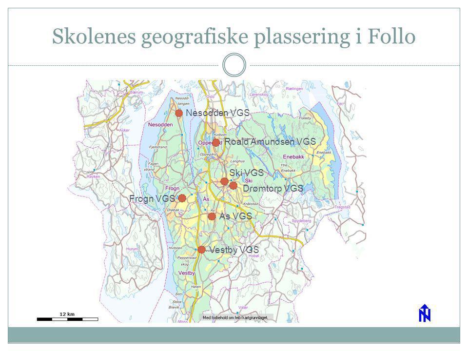 Skolenes geografiske plassering i Follo
