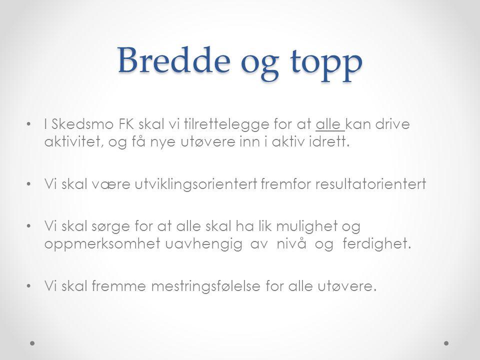 Bredde og topp I Skedsmo FK skal vi tilrettelegge for at alle kan drive aktivitet, og få nye utøvere inn i aktiv idrett.