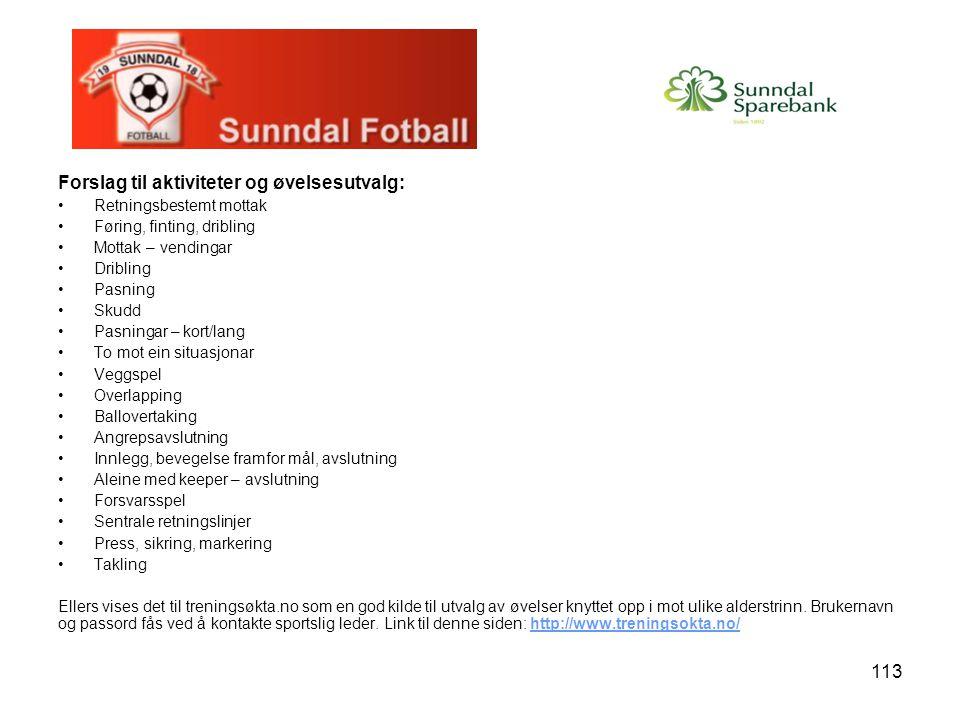 Forslag til aktiviteter og øvelsesutvalg:
