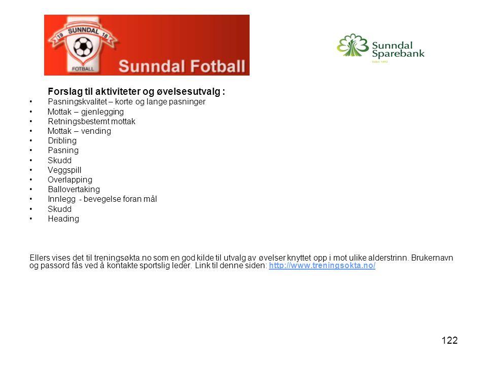 Forslag til aktiviteter og øvelsesutvalg :