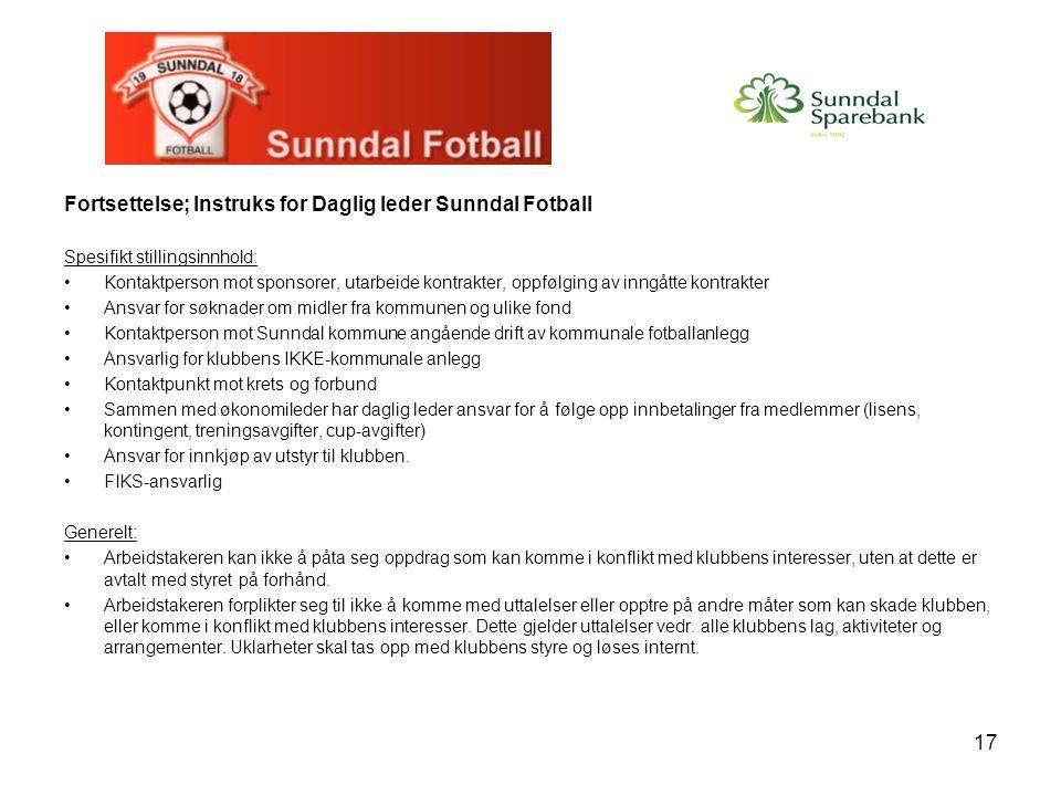 Fortsettelse; Instruks for Daglig leder Sunndal Fotball