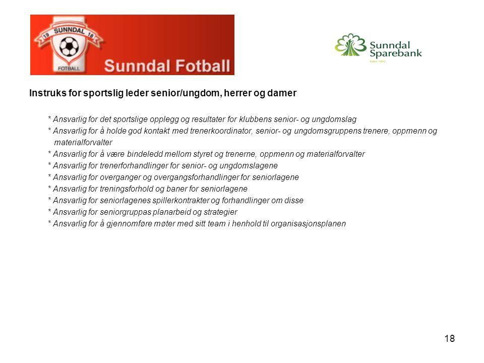 Instruks for sportslig leder senior/ungdom, herrer og damer