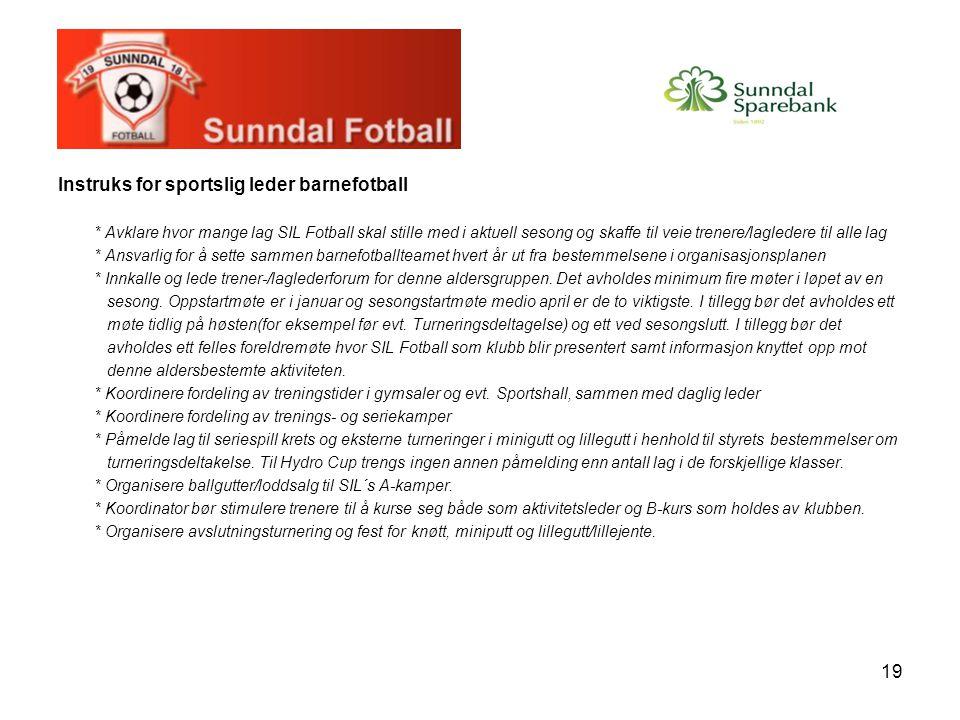 Instruks for sportslig leder barnefotball