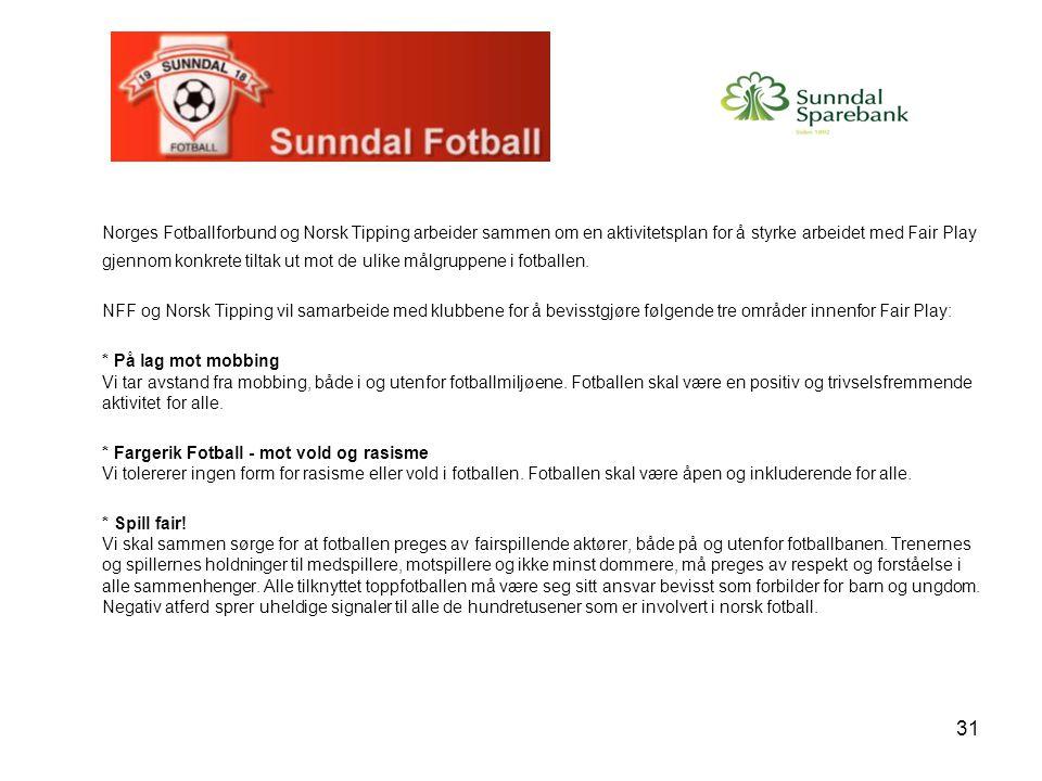 Norges Fotballforbund og Norsk Tipping arbeider sammen om en aktivitetsplan for å styrke arbeidet med Fair Play gjennom konkrete tiltak ut mot de ulike målgruppene i fotballen.