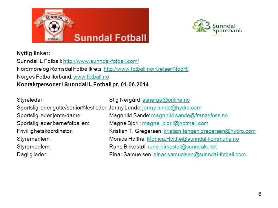 Nyttig linker: Sunndal IL Fotball: http://www.sunndal-fotball.com/ Nordmøre og Romsdal Fotballkrets: http://www.fotball.no/Kretser/NogR/