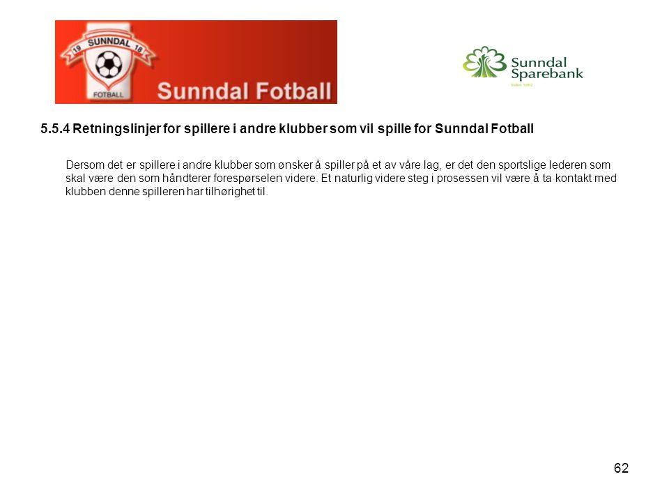 5.5.4 Retningslinjer for spillere i andre klubber som vil spille for Sunndal Fotball