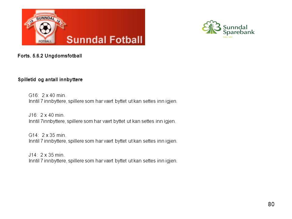 Forts. 5.6.2 Ungdomsfotball Spilletid og antall innbyttere.