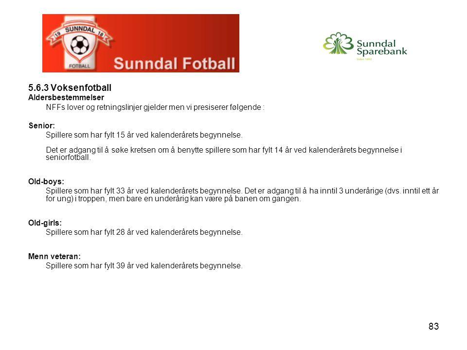 5.6.3 Voksenfotball Aldersbestemmelser