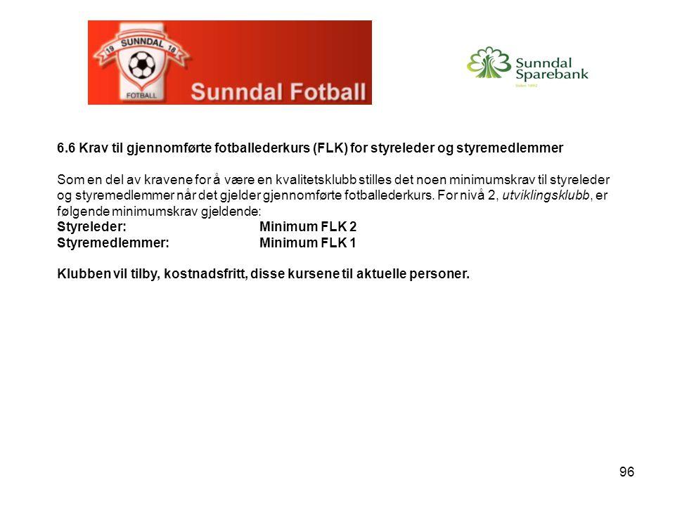 6.6 Krav til gjennomførte fotballederkurs (FLK) for styreleder og styremedlemmer
