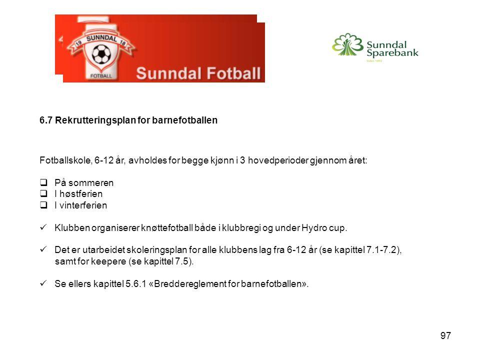 6.7 Rekrutteringsplan for barnefotballen