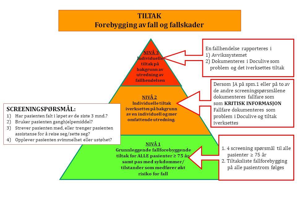 TILTAK Forebygging av fall og fallskader