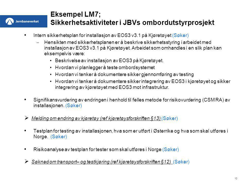 Eksempel LM7; Sikkerhetsaktiviteter i JBVs ombordutstyrprosjekt