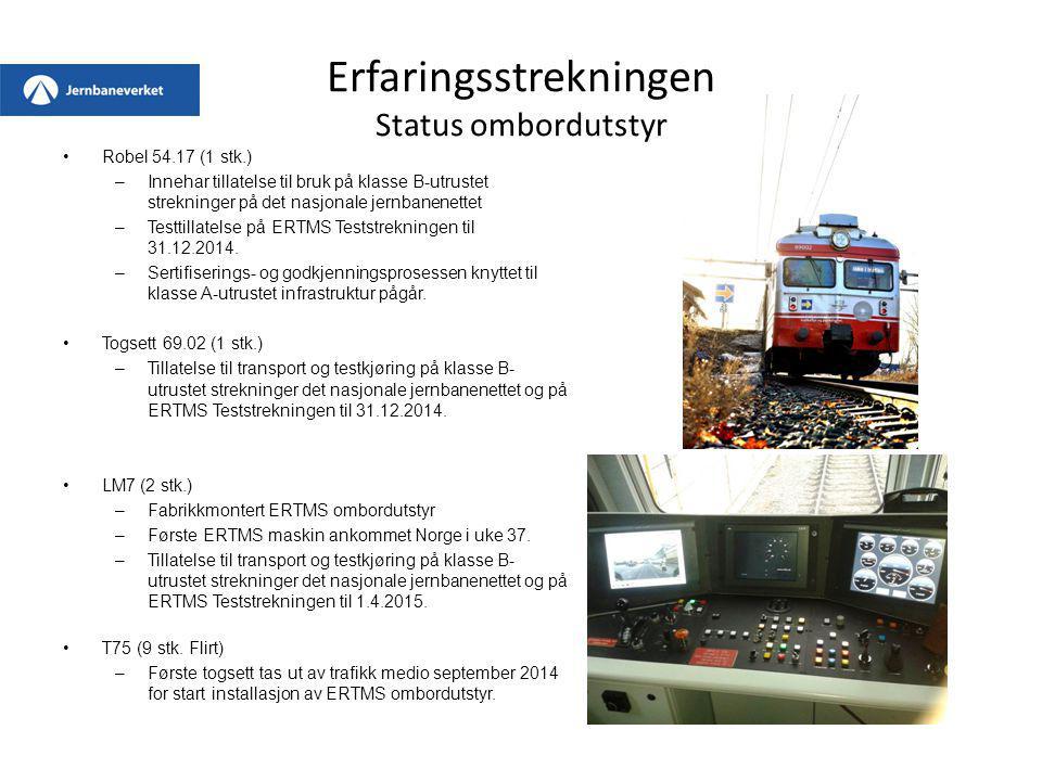 Erfaringsstrekningen Status ombordutstyr