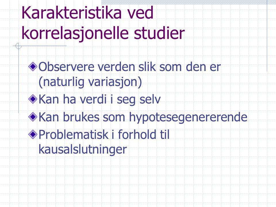 Karakteristika ved korrelasjonelle studier