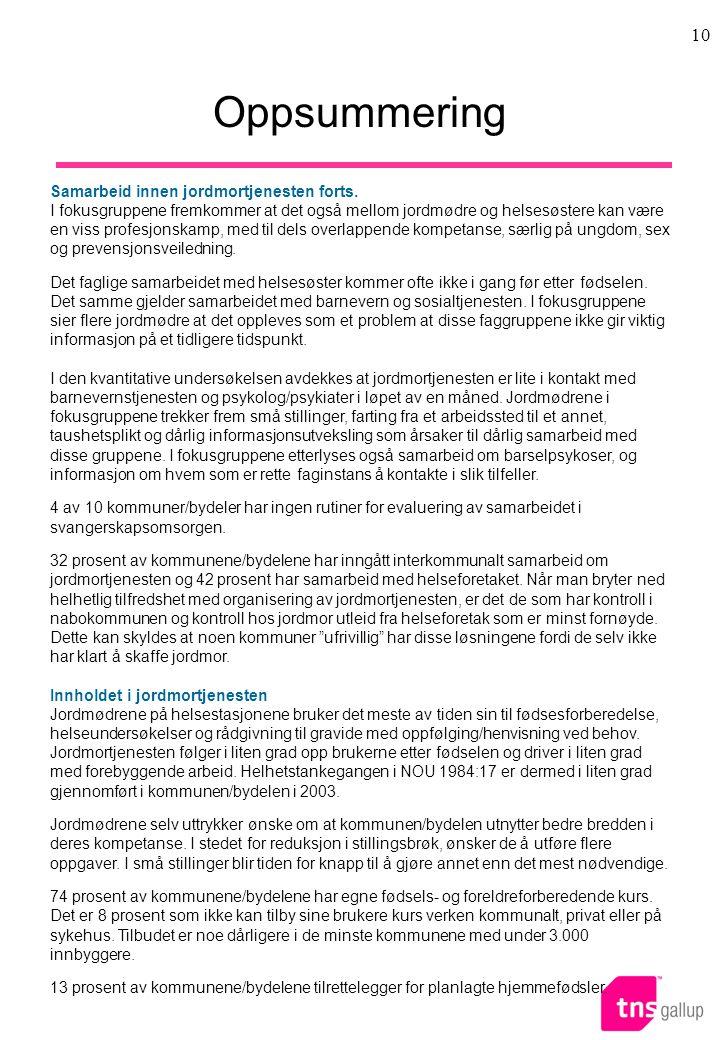 Oppsummering Samarbeid innen jordmortjenesten forts.
