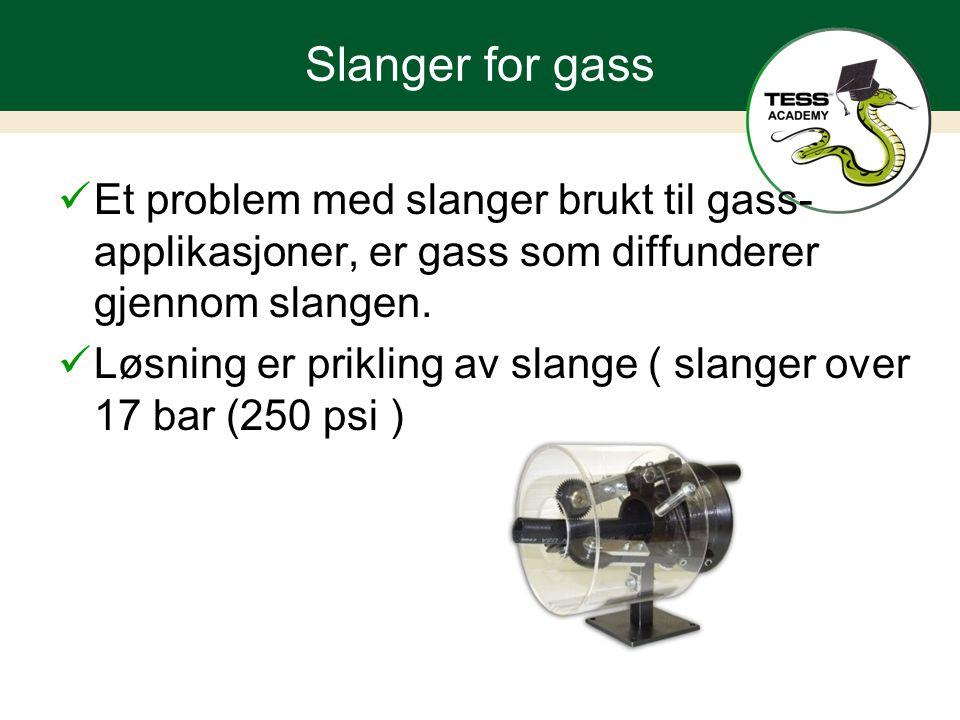 Slanger for gass Et problem med slanger brukt til gass- applikasjoner, er gass som diffunderer gjennom slangen.