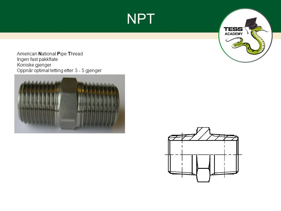 NPT American National Pipe Thread Ingen fast pakkflate Koniske gjenger
