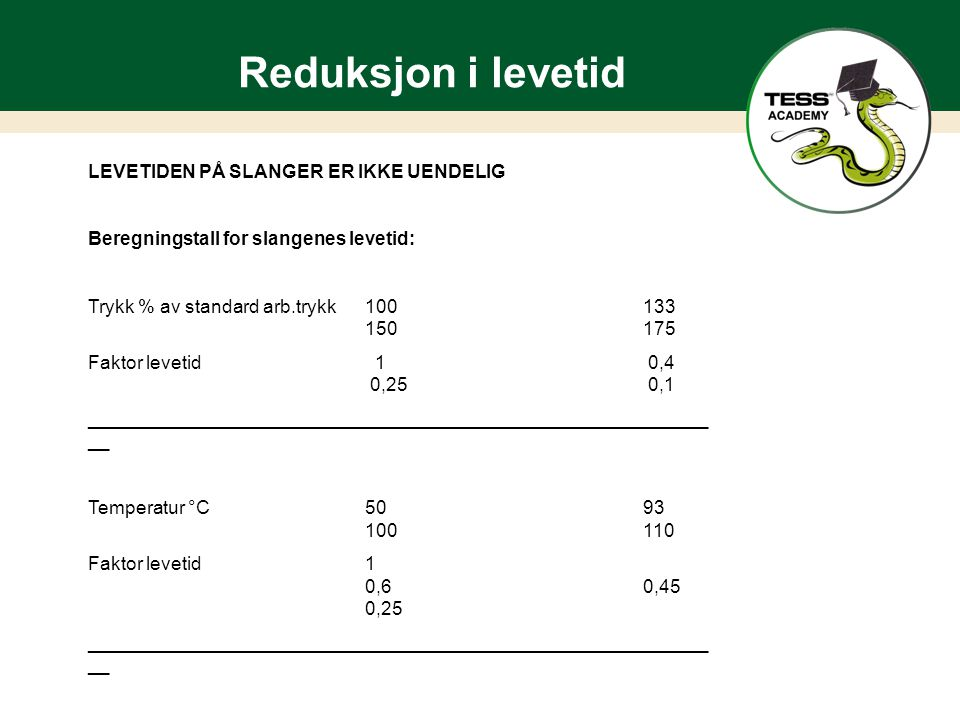 Reduksjon i levetid LEVETIDEN PÅ SLANGER ER IKKE UENDELIG